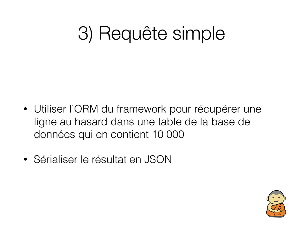 3) Requête simple • Utiliser l'ORM du framework...
