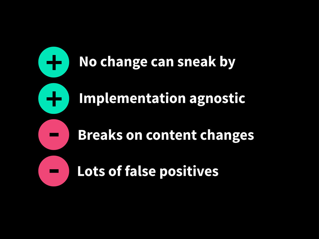 Lots of false positives + - No change can sneak...