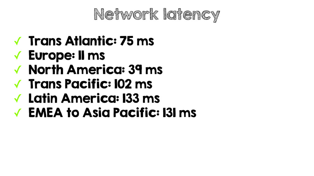 ✓ Trans Atlantic: 75 ms ✓ Europe: 11 ms ✓ North...