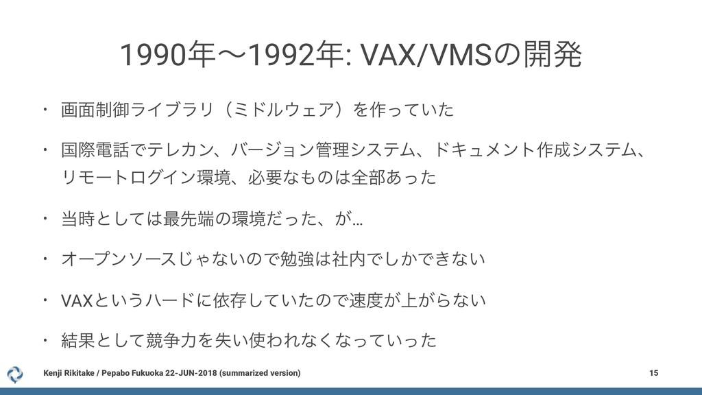 1990ʙ1992: VAX/VMSͷ։ൃ • ը໘੍ޚϥΠϒϥϦʢϛυϧΣΞʣΛ࡞ͬͯ...