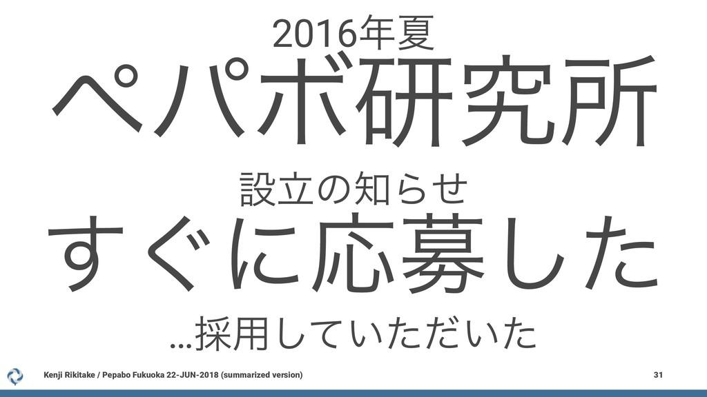 2016Ն ϖύϘݚڀॴ ઃཱͷΒͤ ͙͢ʹԠืͨ͠ …࠾༻͍͍ͯͨͩͨ͠ Kenji R...