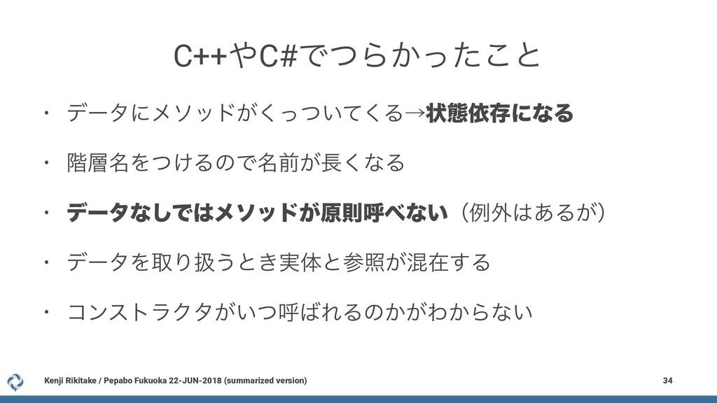 C++C#ͰͭΒ͔ͬͨ͜ͱ • σʔλʹϝιου͕͍ͬͭͯ͘͘Δˠঢ়ଶґଘʹͳΔ • ֊໊...