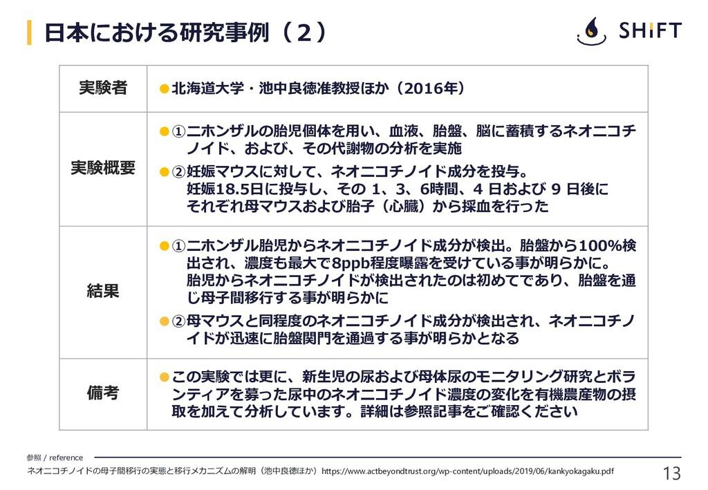13 参照 / reference 日本における研究事例(2) 実験者 ●北海道大学・池中良徳...