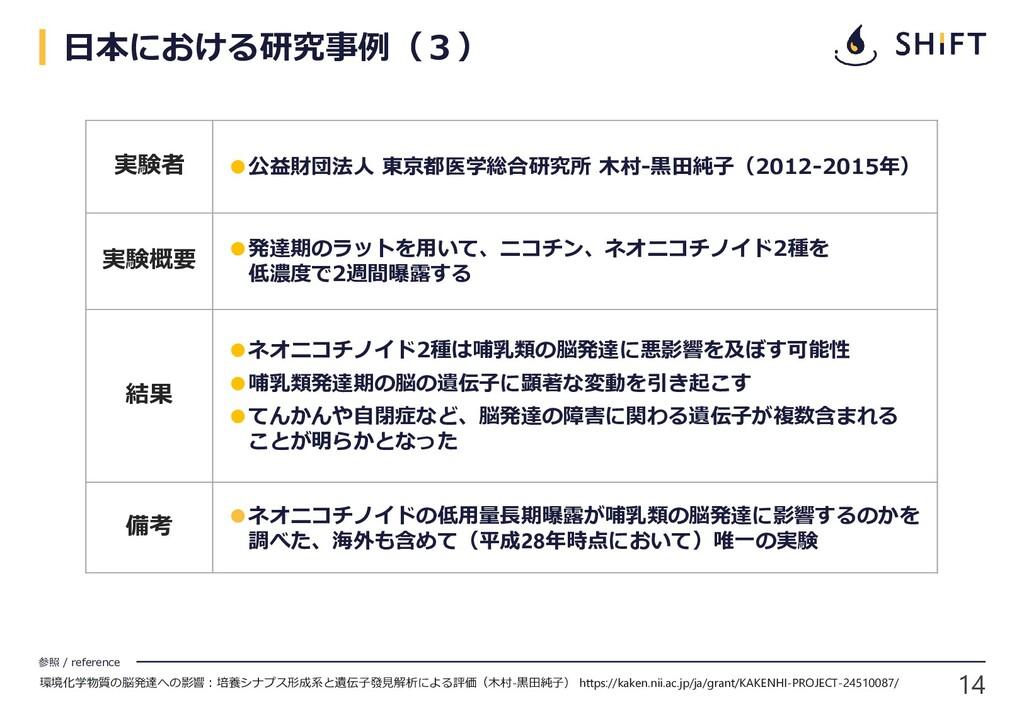 14 参照 / reference 日本における研究事例(3) 実験者 ●公益財団法人 東京都...
