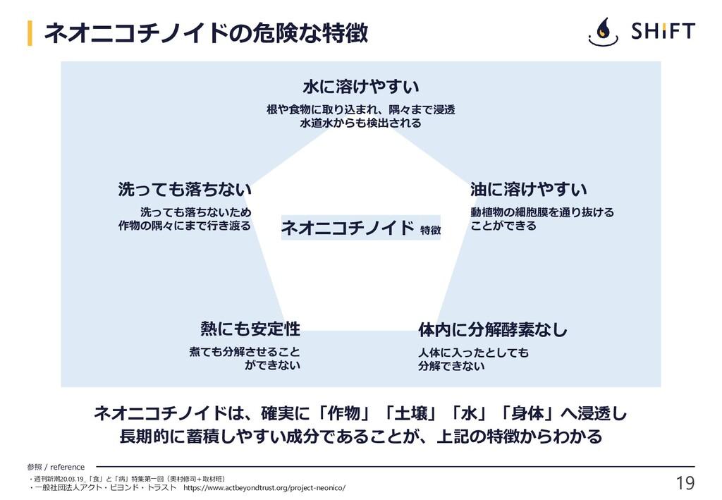 19 参照 / reference ネオニコチノイドの危険な特徴 ・週刊新潮20.03.19_...