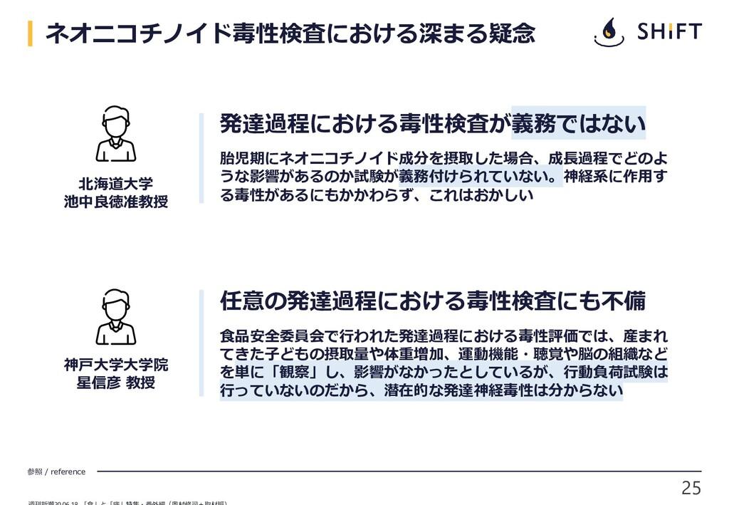 25 参照 / reference ネオニコチノイド毒性検査における深まる疑念 北海道大学 池...