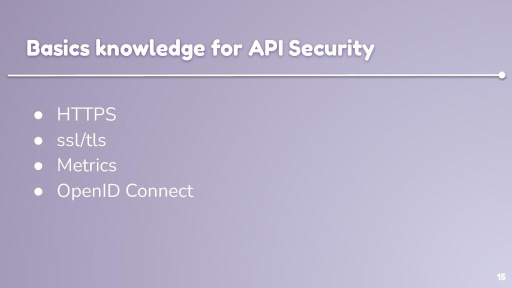 15 Basics knowledge for API Security ● HTTPS ● ...