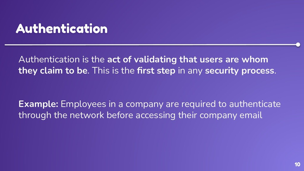 10 Authentication Authentication is the act of ...