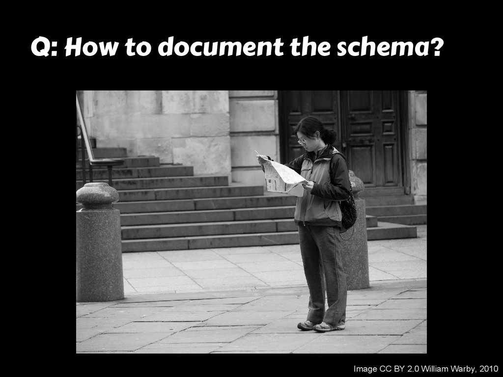 Q: How to document the schema? Image CC BY 2.0 ...