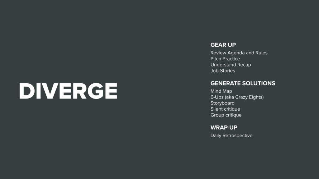 DIVERGE GEAR UP Review Agenda and Rules Pitch P...