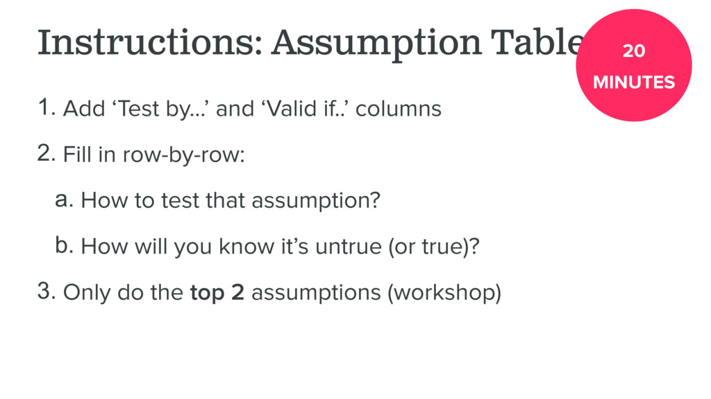 Instructions: Assumption Table 1. Add 'Test by…...