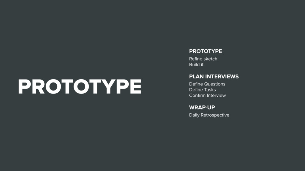 PROTOTYPE PROTOTYPE Refine sketch Build it! PLAN...