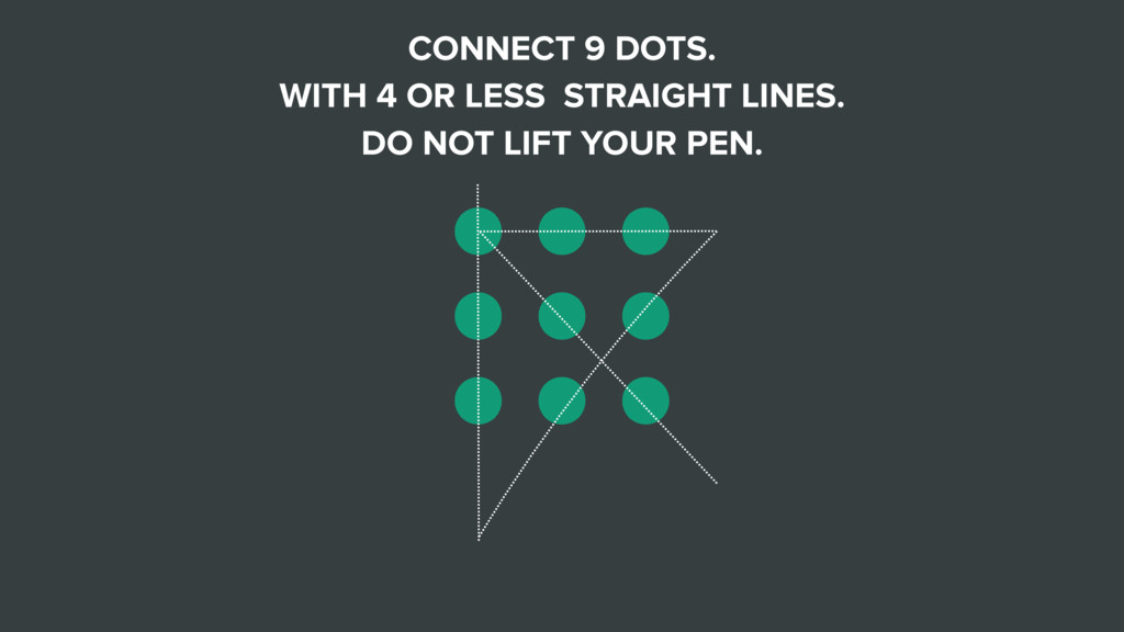 CONNECT 9 DOTS. WITH 4 OR LESS STRAIGHT LINES. ...