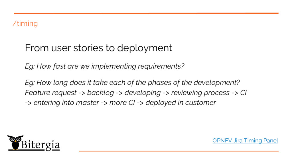 /timing From user stories to deployment Eg: How...