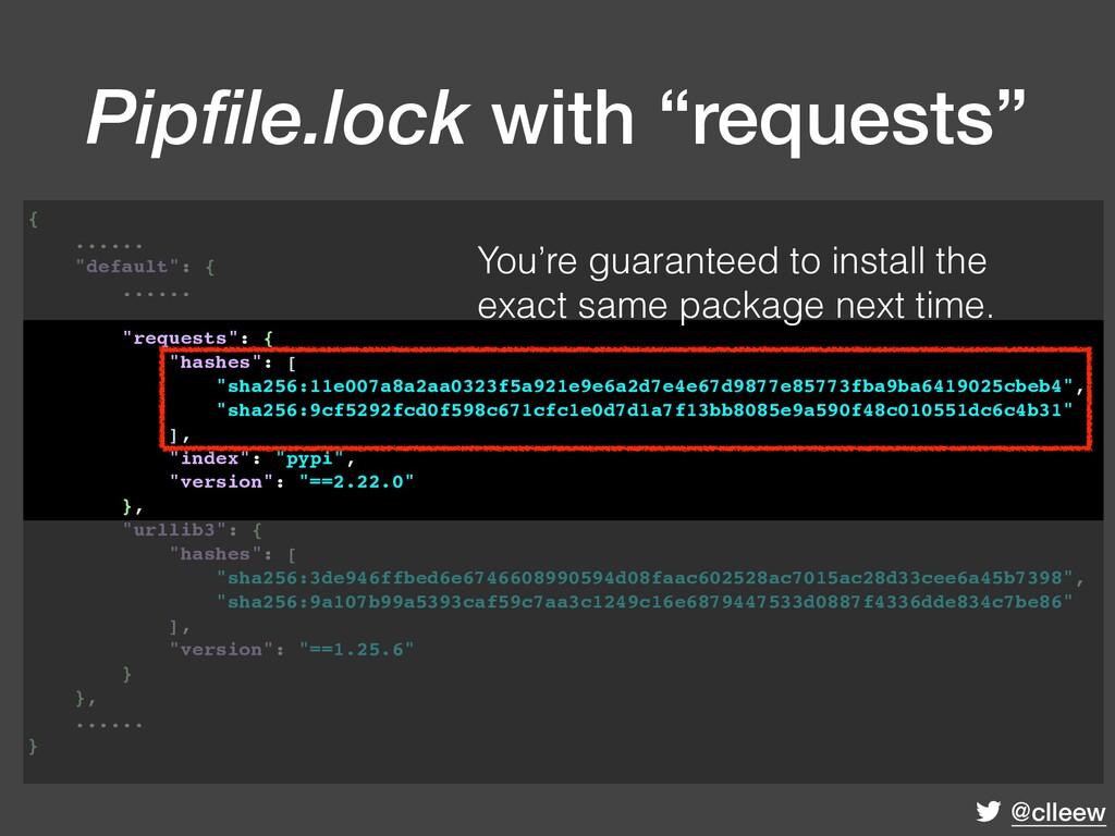 """@clleew """"requests"""": { """"hashes"""": [ """"sha256:11e00..."""