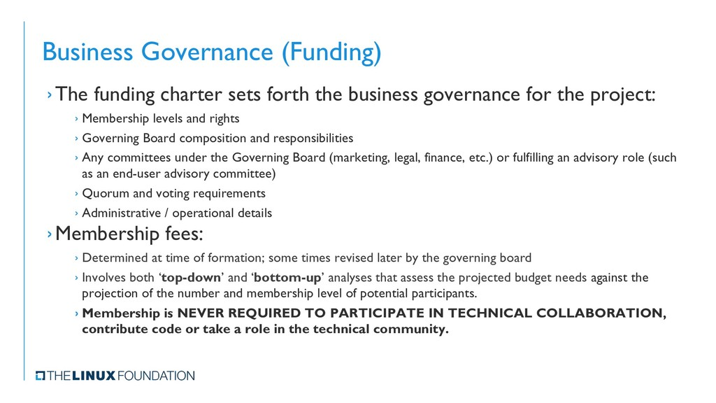 Business Governance (Funding) ›The funding char...