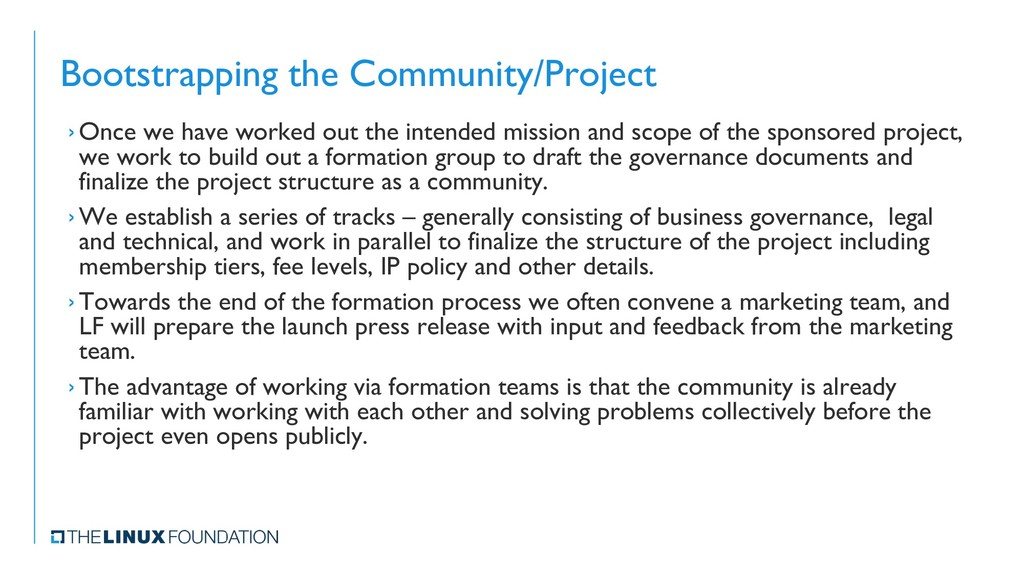 Bootstrapping the Community/Project › Once we h...