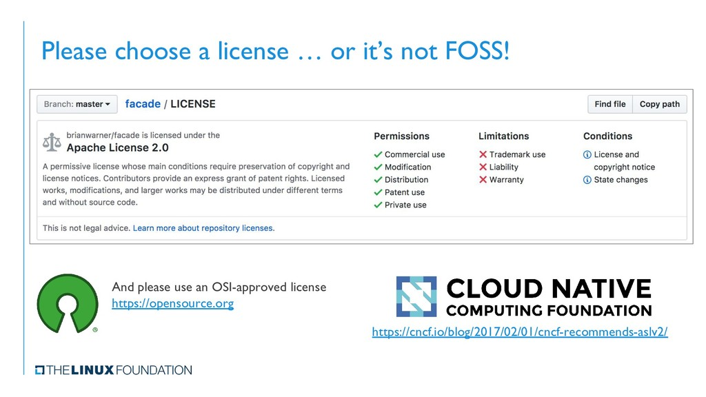 Please choose a license … or it's not FOSS! And...