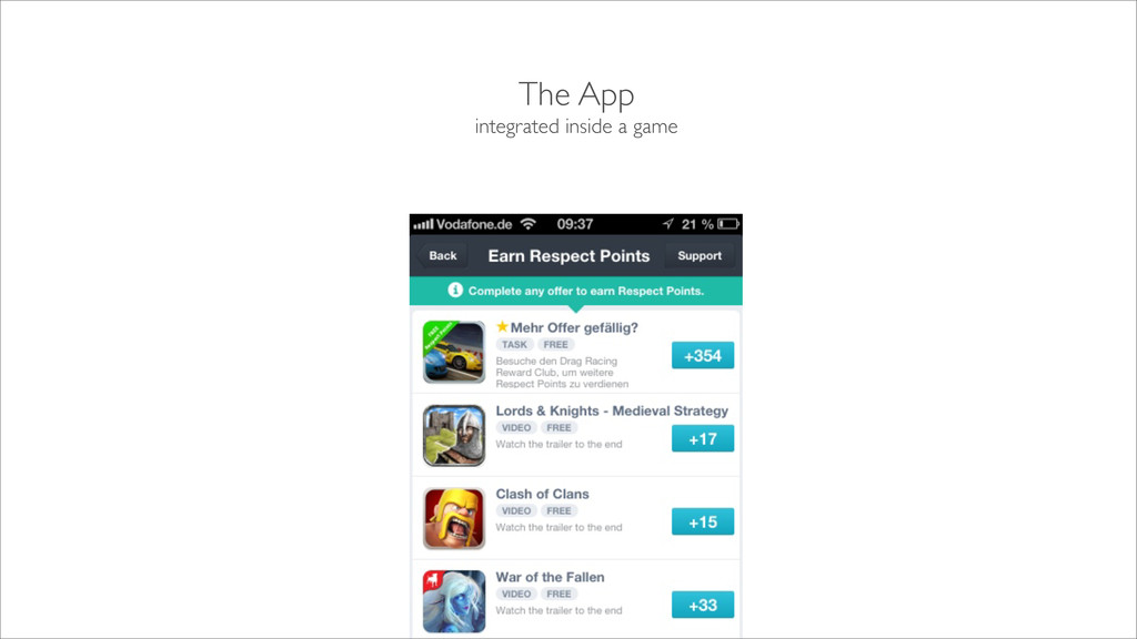 The App integrated inside a game TO BE CHANGED