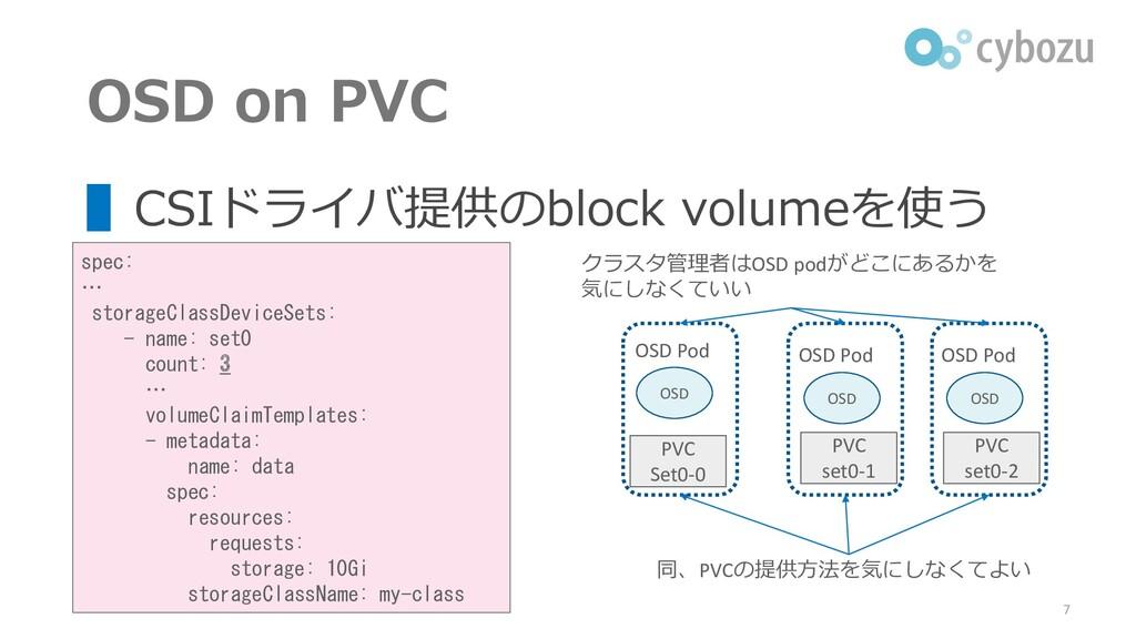 クラスタ管理者はOSD podがどこにあるかを 気にしなくていい OSD on PVC ▌CS...