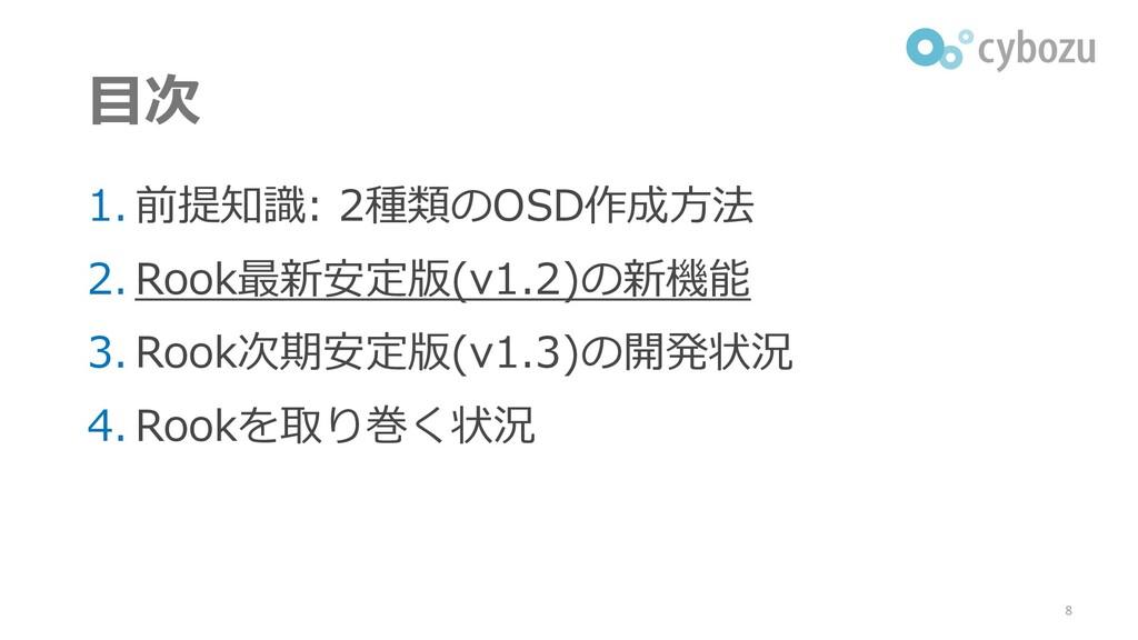 目次 1. 前提知識: 2種類のOSD作成方法 2. Rook最新安定版(v1.2)の新機能 ...