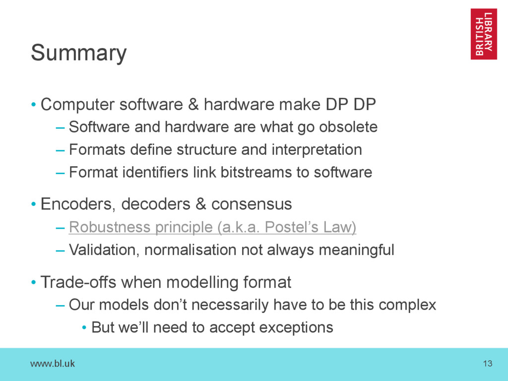 www.bl.uk 13 Summary • Computer software & hard...