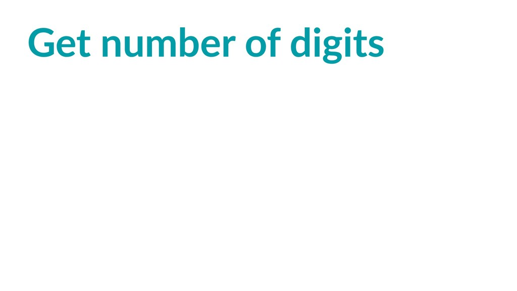 Get number of digits