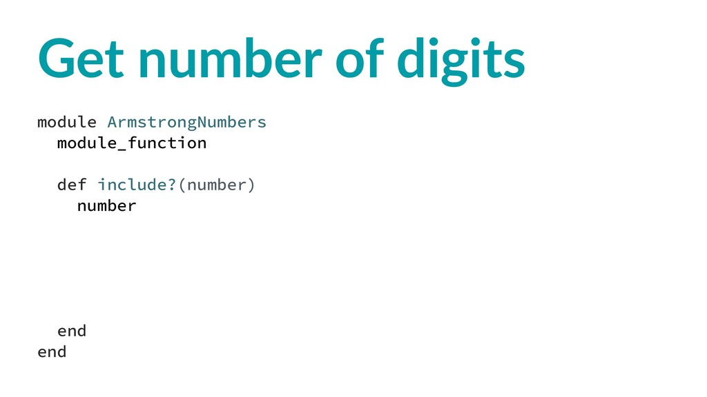 Get number of digits module ArmstrongNumbers mo...