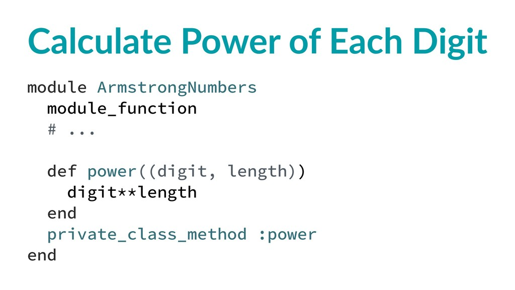 Calculate Power of Each Digit module ArmstrongN...