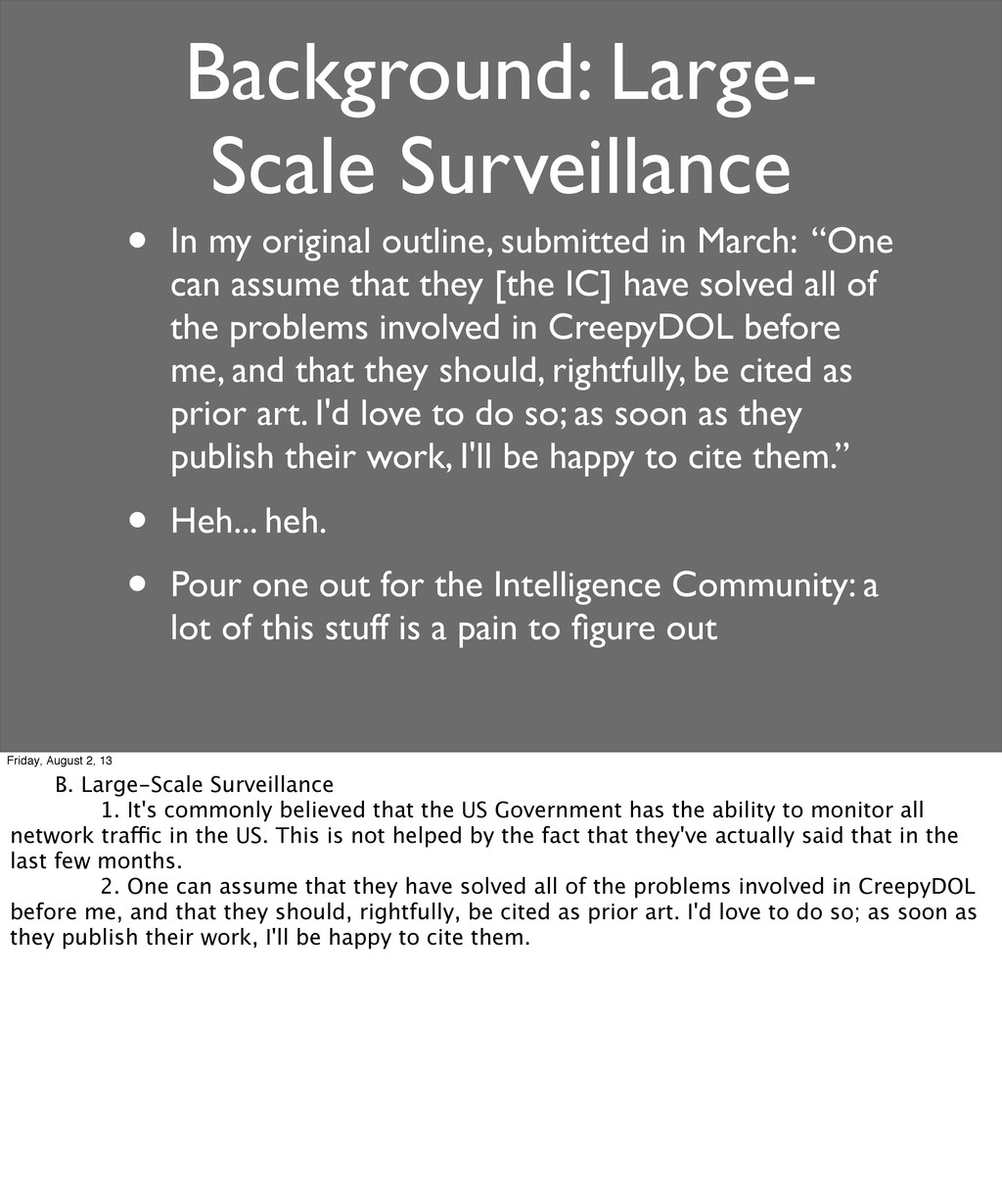 Background: Large- Scale Surveillance • In my o...