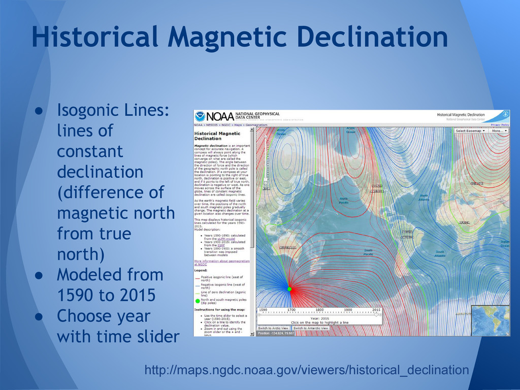 ● Isogonic Lines: lines of constant declination...