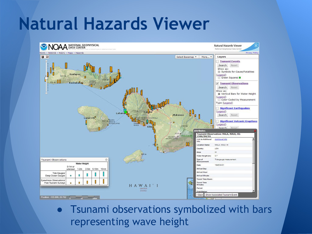 ● Tsunami observations symbolized with bars rep...
