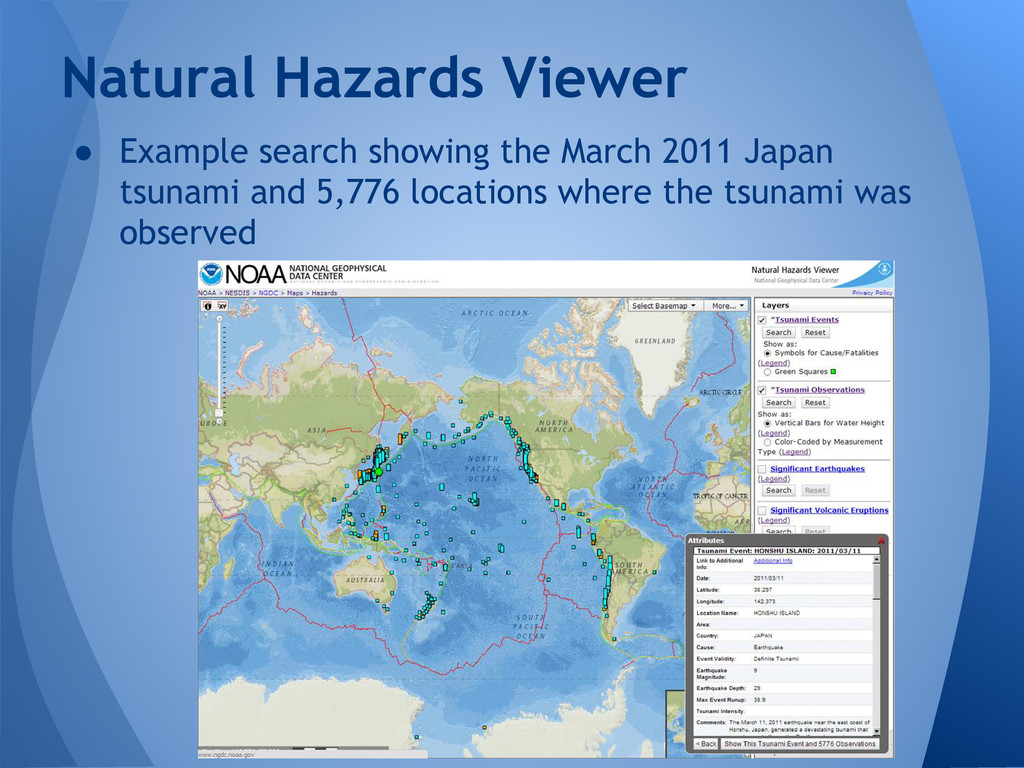 ● Example search showing the March 2011 Japan t...