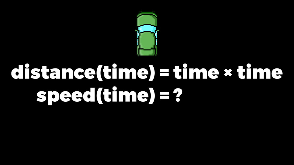 distance(time) = time × time speed(time) = ?