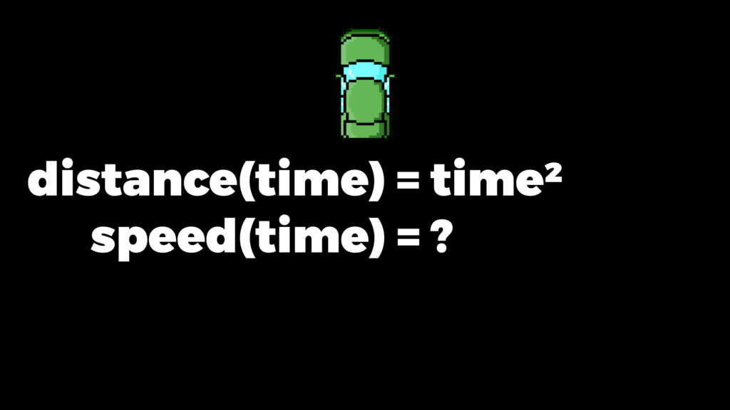 distance(time) = time ² speed(time) = ?