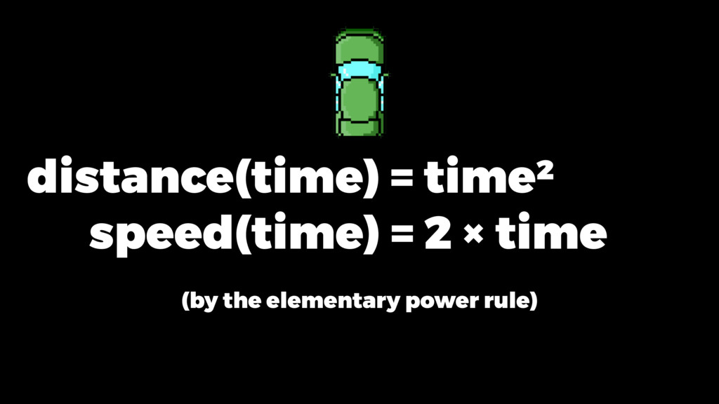 distance(time) = time ² speed(time) = 2 × time ...