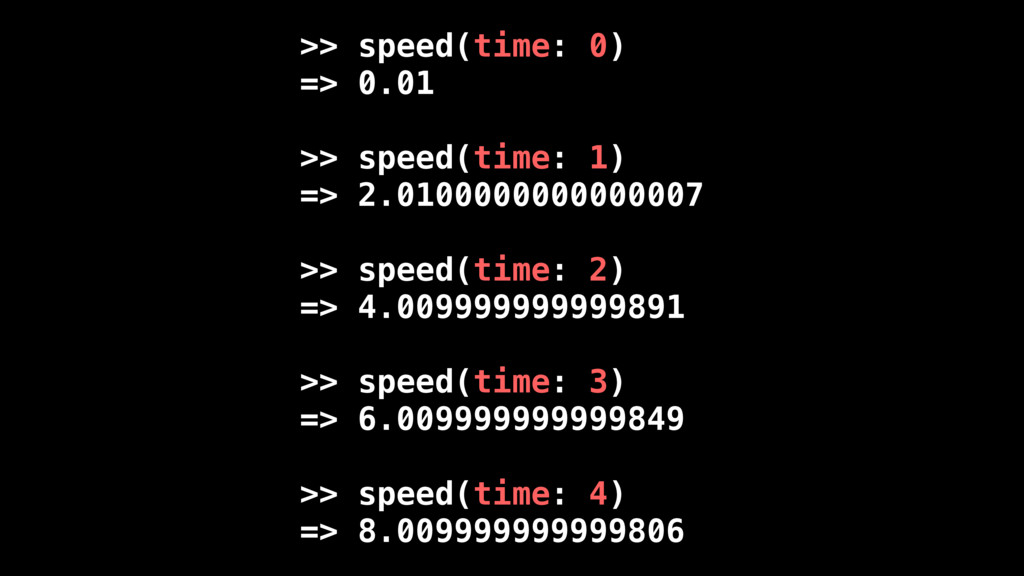 >> speed(time: 0) => 0.01 >> speed(time: 1) => ...