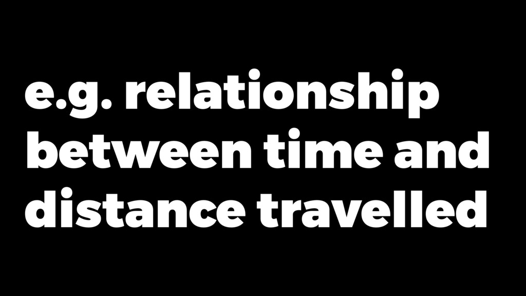e.g. relationship between time and distance tra...