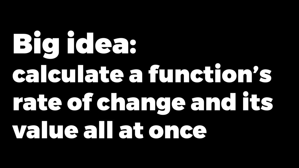 Big idea: calculate a function's rate of change...