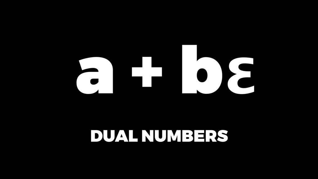 DUAL NUMBERS ε a + b