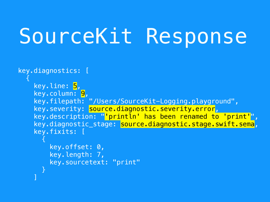SourceKit Response key.diagnostics: [ { key.lin...
