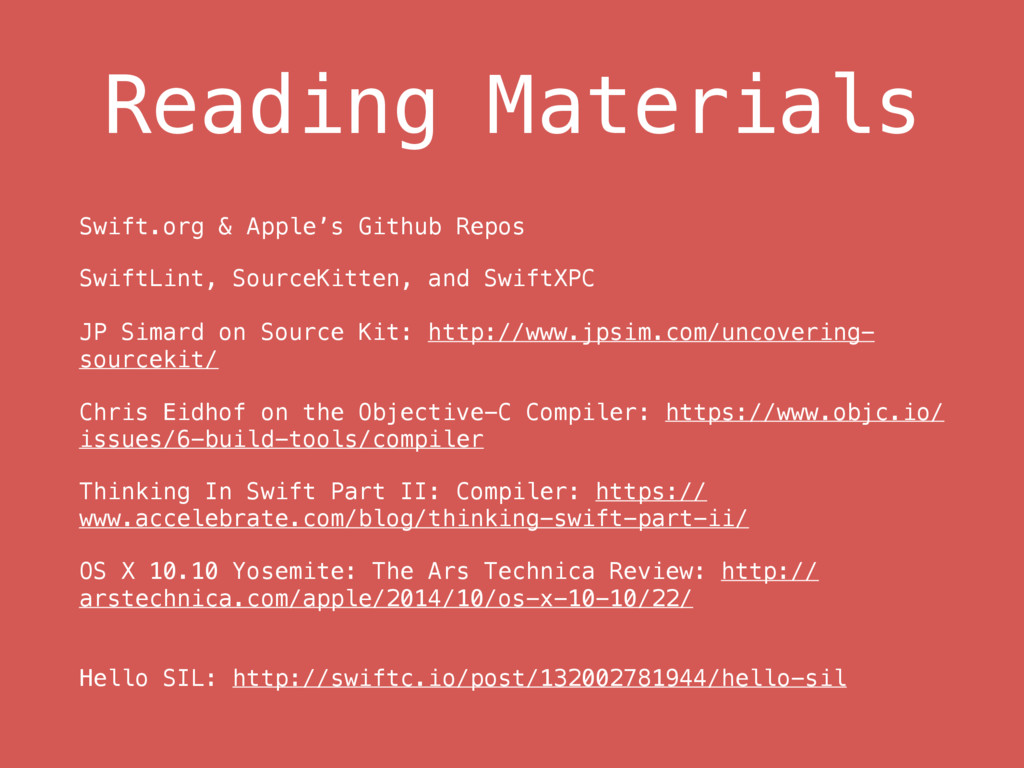 Reading Materials Swift.org & Apple's Github Re...
