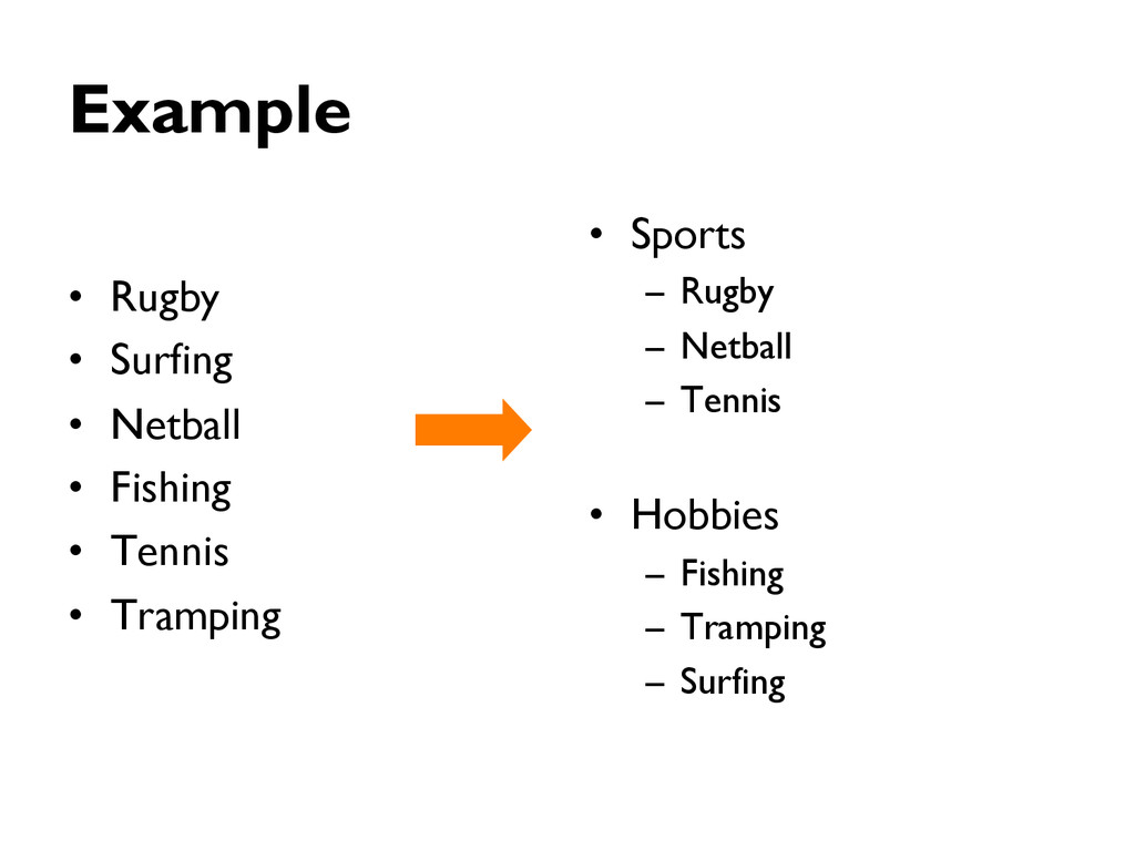 Example •  Rugby •  Surfing •  Netball •  Fishi...