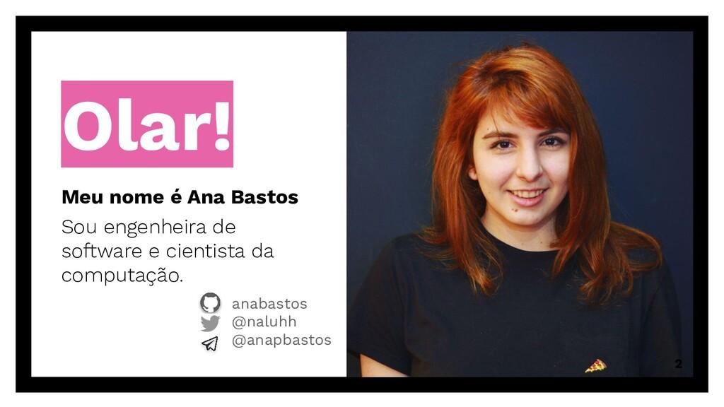 Olar! Meu nome é Ana Bastos Sou engenheira de s...