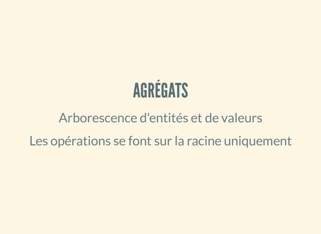 AGRÉGATS Arborescence d'entités et de valeurs L...