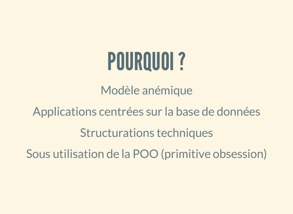 POURQUOI ? Modèle anémique Applications centrée...