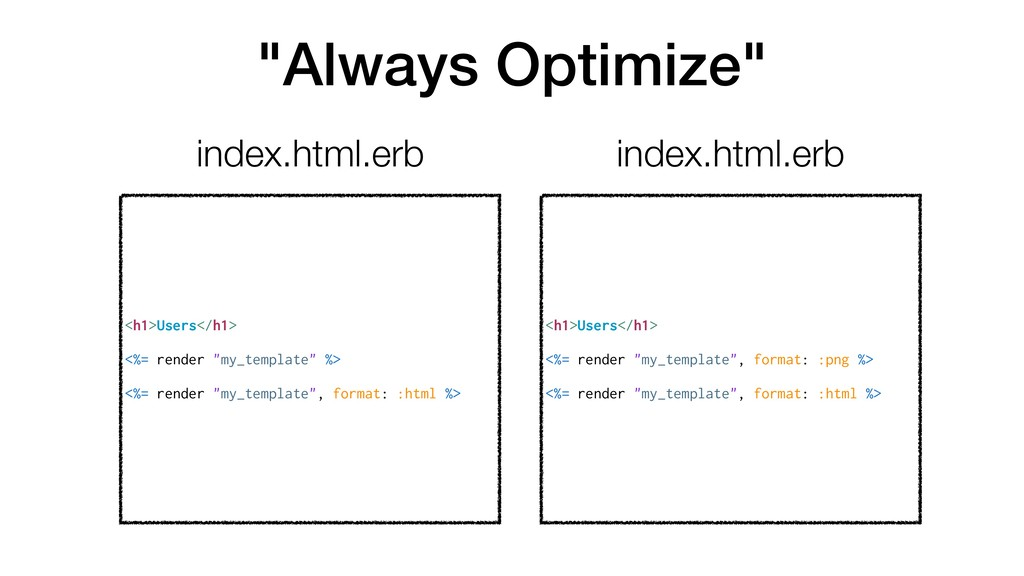 """""""Always Optimize"""" <h1>Users</h1> <%= render """"my..."""