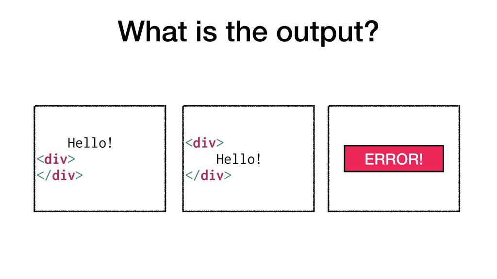 What is the output? Hello! <div> </div> <div> H...