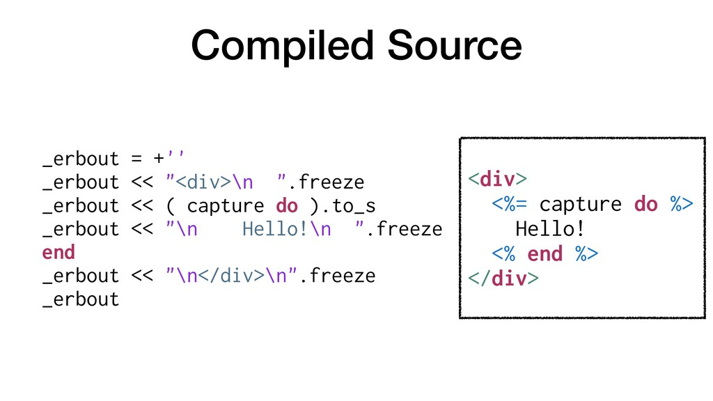 """Compiled Source _erbout = +'' _erbout << """"<div>..."""