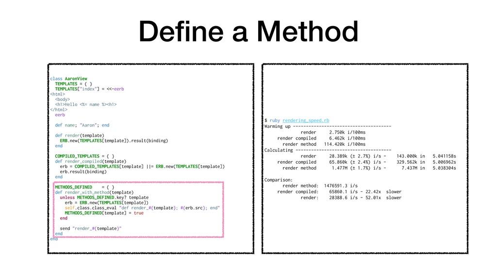 Define a Method class AaronView TEMPLATES = { } ...